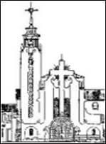 Dibujo de l afachada en blanco y negro