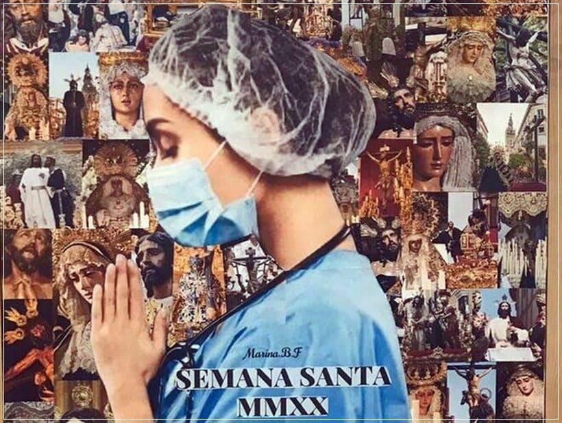 Enfermera con imágenes religiosas